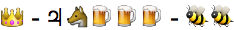 emoji: 'crown' dash 'Jupiter' 'wolf face' 'beer mug' 'beer mug' 'beer mug' dash 'honeybee' 'honeybee'