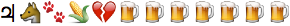 emoji: 'Jupiter' 'wolf face' 'paw prints' 'ear of maize' 'broken heart' 'beer mug' 'beer mug' 'beer mug' 'beer mug' 'beer mug' 'beer mug' 'beer mug'