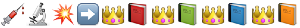 emoji: 'syringe' 'microscope' 'collision symbol' 'black rightwards arrow' 'crown' 'closed book' 'crown 'green book' 'crown' 'blue book' 'crown' 'orange book'