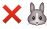 emoji: 'cross mark' 'rabbit face'