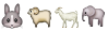 emoji: 'rabbit face' 'sheep' 'goat' 'elephant'